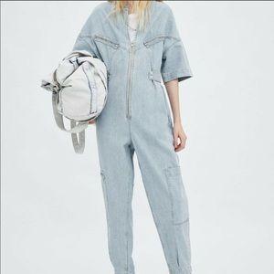 Zara Front Zip Long Denim Jumpsuit size L